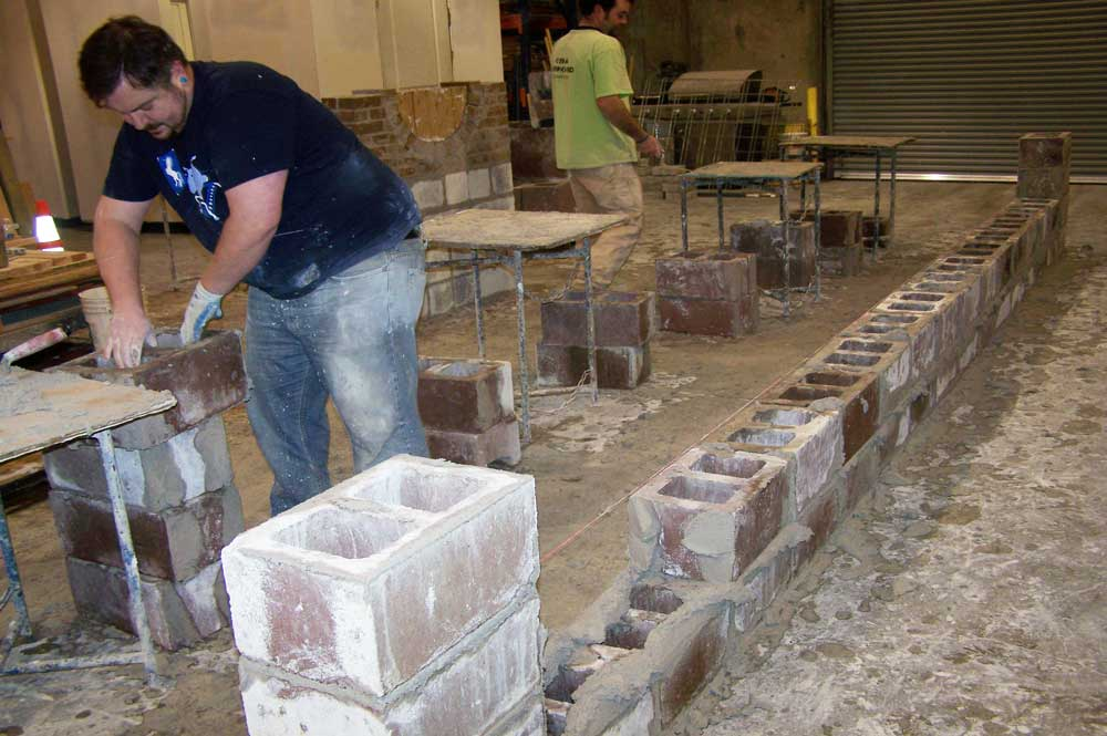 masonry students in the shop